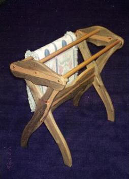 Simple sturdy quilt stands can hold multiple quilts.